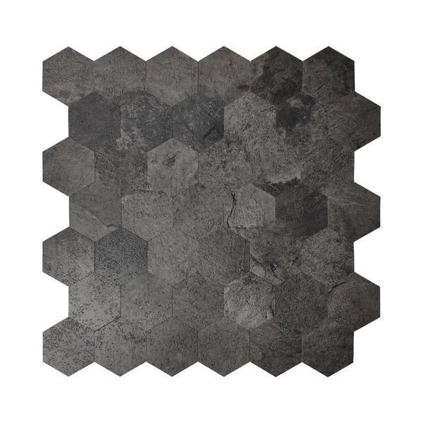 Bilde av Hexagon mørkegrå betong selvklebende veggfliser