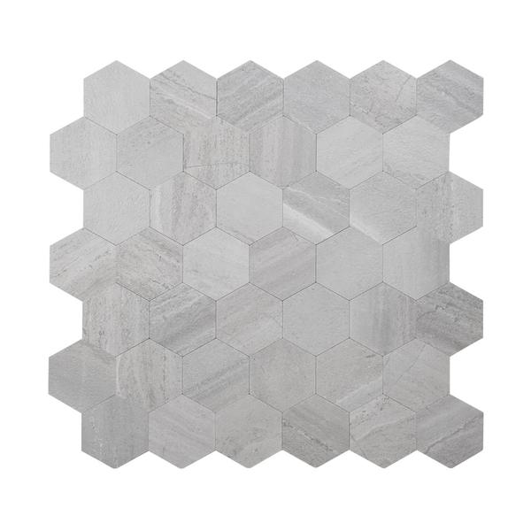 Bilde av Hexagon lysegrå betong selvklebende veggfliser