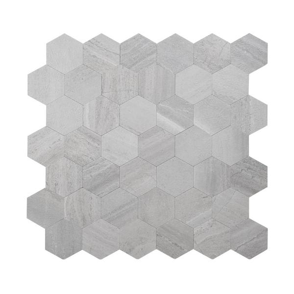 Bilde av Vareprøve: Hexagon lysegrå betong selvklebende veggfliser