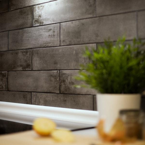 Bilde av Grey brick slate våtromstapet
