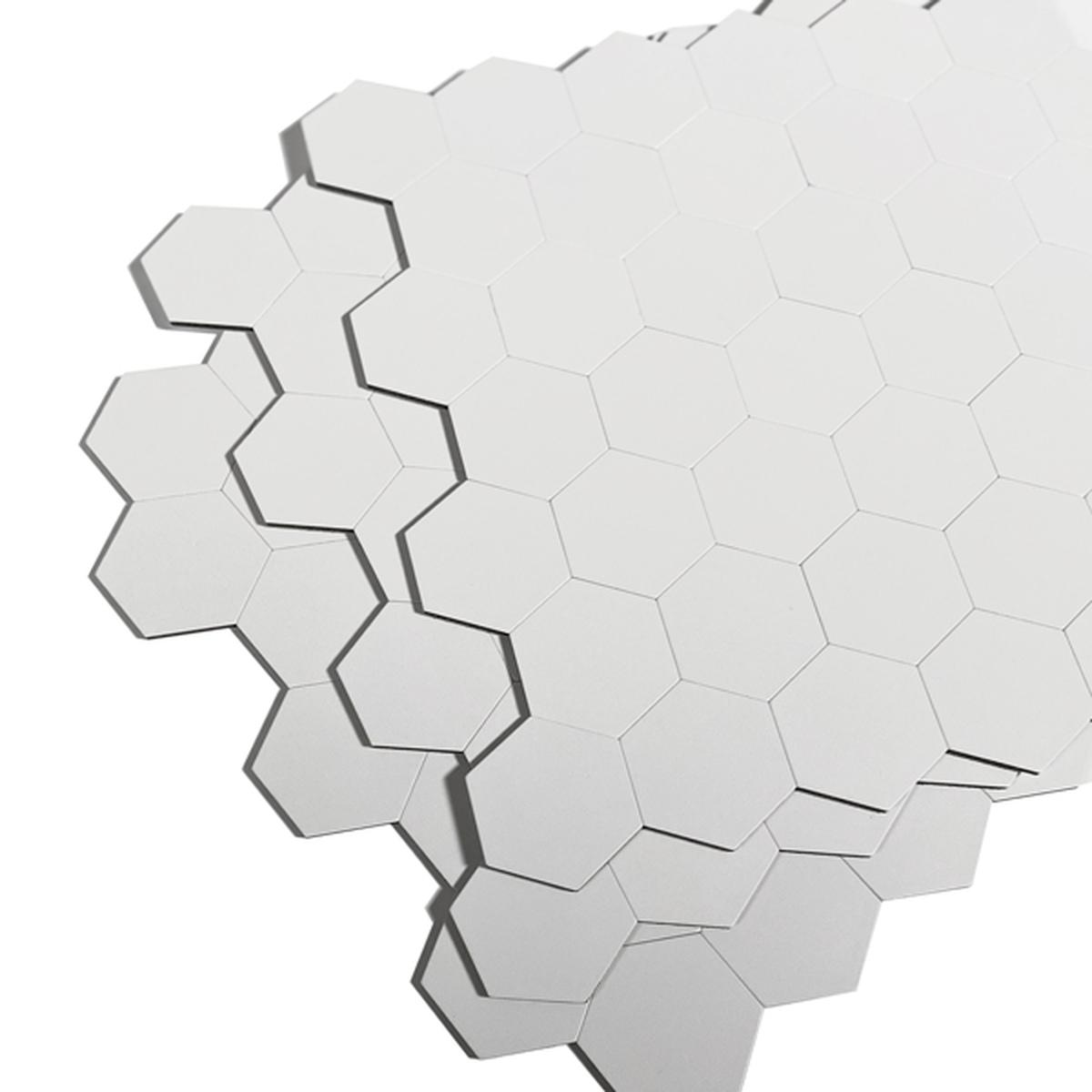 Hexagon hvit matt selvklebende veggfliser
