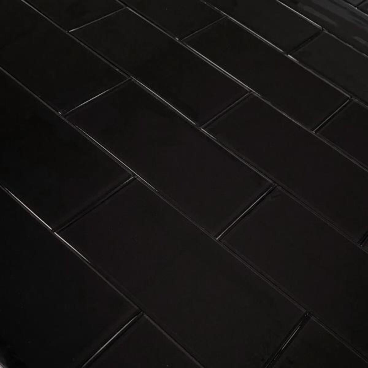 Glass subway sort selvklebende veggfliser