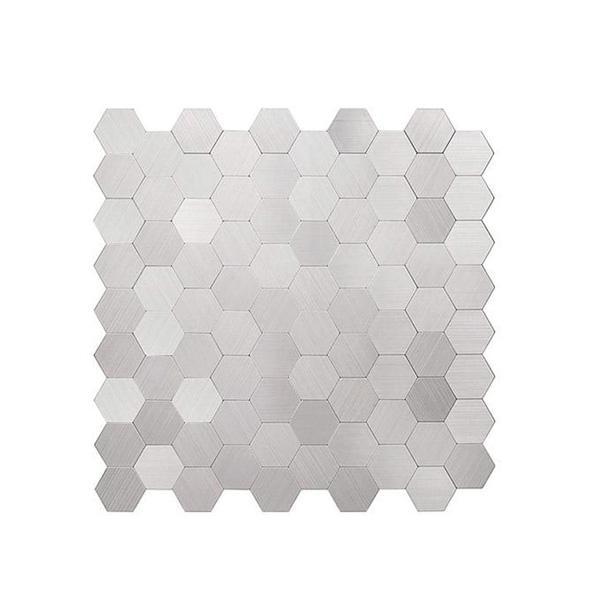 Bilde av Børstet stål selvklebende veggfliser