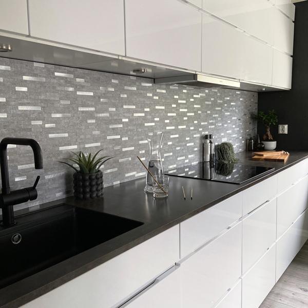 Bilde av Stein lys grå selvklebende veggfliser