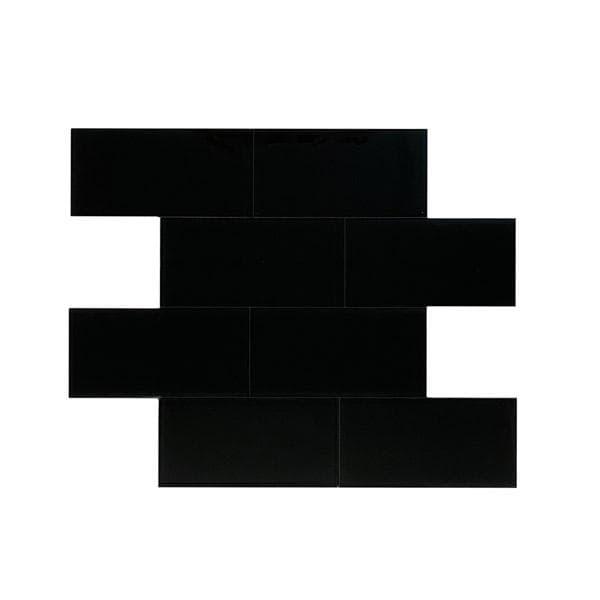 Bilde av Vareprøve: Glass subway sort selvklebende veggfliser