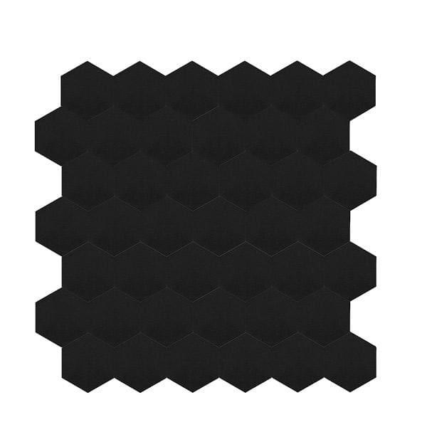 Bilde av Vareprøve: Stein Hexagon sort matt selvklebende veggfliser