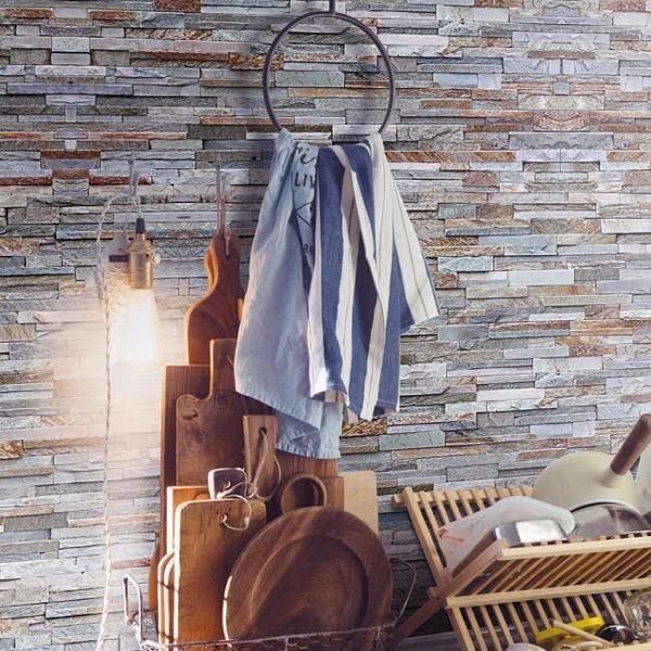 Bilde av Vareprøve: Stone wall grå blå våtromstapet