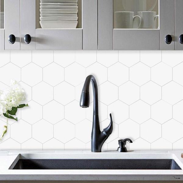Bilde av Stein Hexagon XL hvit selvklebende veggfliser