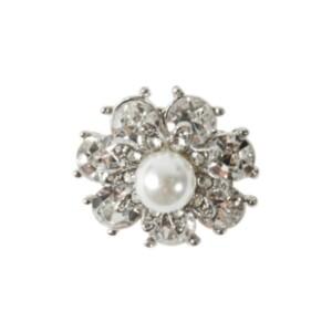Bilde av Knapp metall med liten perle