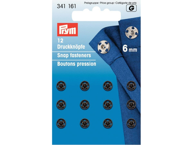 6 mm Patentknapper Svart 12 stk