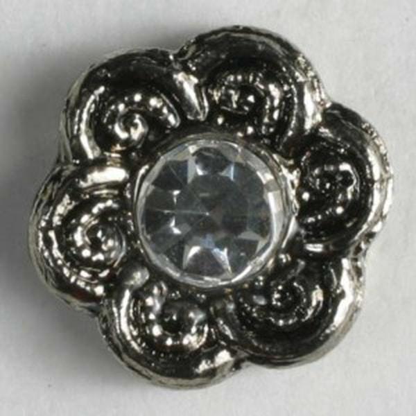 11mm, sølv strassknapp