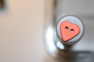 Bilde av Hjerte knapp, oransje