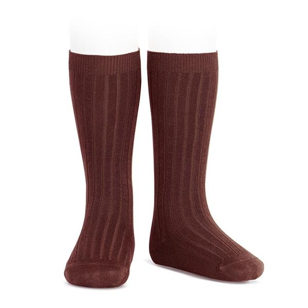 385 Varm brun Knestømper med ribb