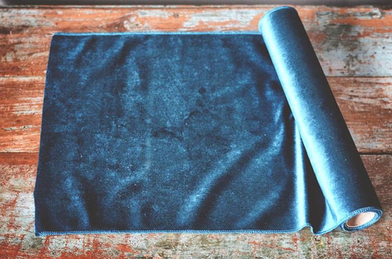 Bordløper velur 35x200cm mørk blå