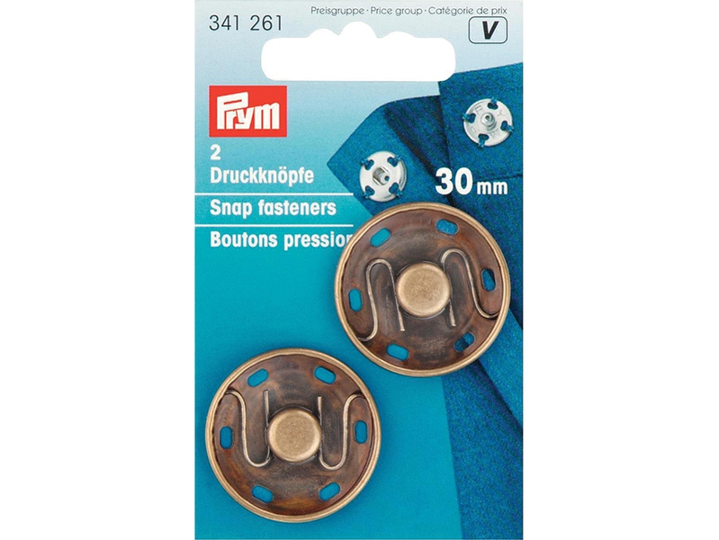 30 mm Patentknapp 2 stk Messing
