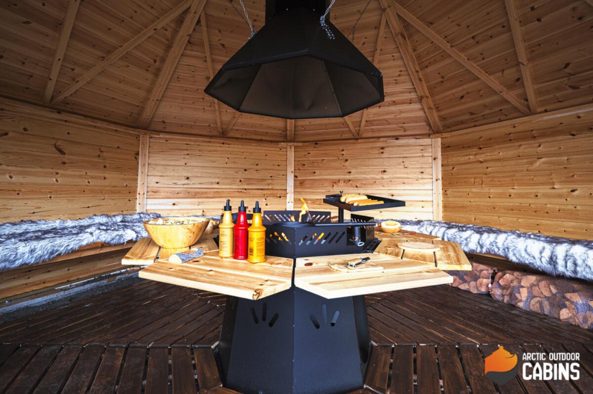 Vindskydd 17 m2 Royal med grill och bänkar
