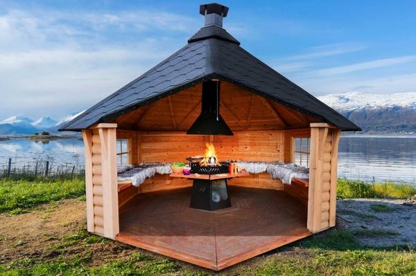 Bilde av Vindskydd 10 m2 Royal med grill och bänkar