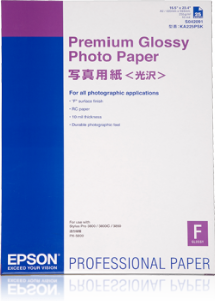 Bilde av Epson Premium Glossy Photo Paper 250g A2 25stk