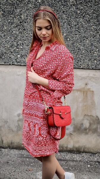 Bilde av Pourchet - Crossbody leather bag - Rouge
