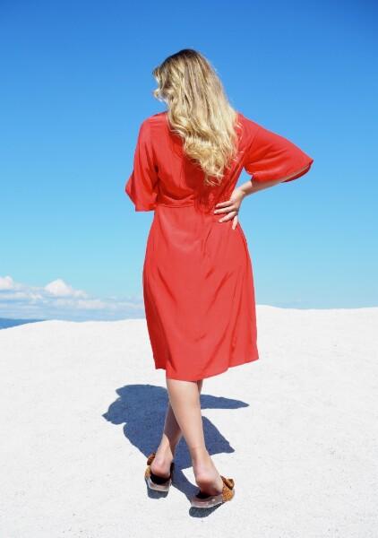 Bilde av Coster - Dress w/ Volume Skirt - Poppy Red