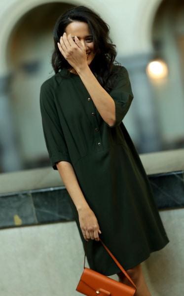 Bilde av Coster - Short Dress in Lyocell - Hunter Green