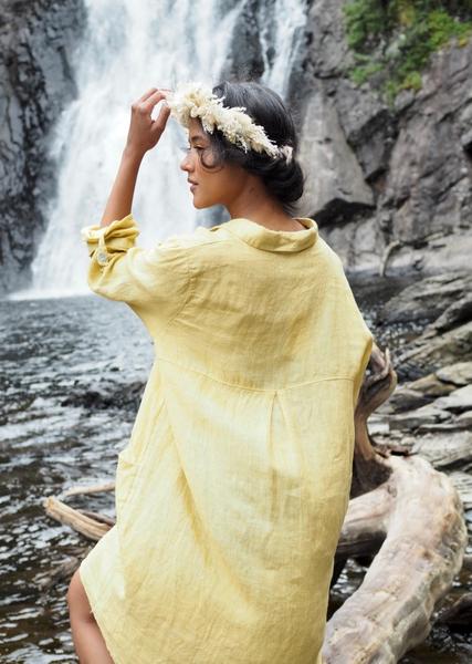 Bilde av Nectar Clothing - Matilde Linen Dress - Corn