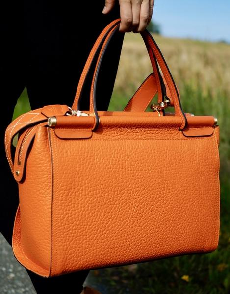 Bilde av Pourchet - Big nano leather satchel - Orange