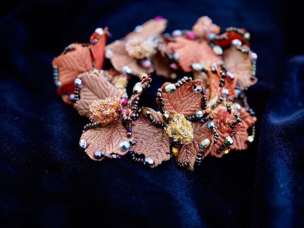 Bilde av Nectar - Hårstrikk Glitter Leaves - Orange