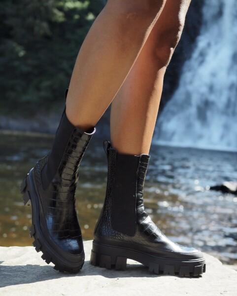 Bilde av Billi Bi - Croco Rubber Boots - Black