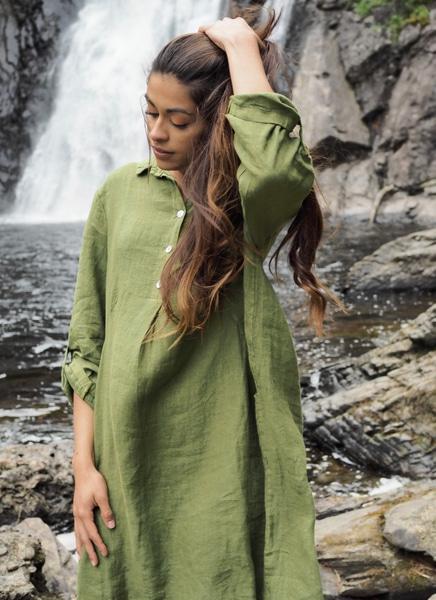 Bilde av Nectar Clothing - Matilde Linen Dress - Laurel