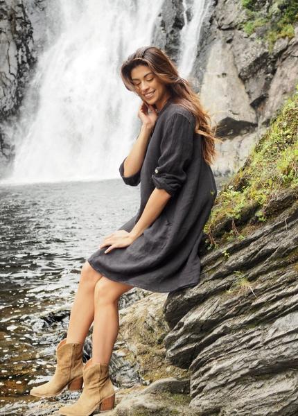Bilde av Nectar Clothing - Matilde Linen Dress - Charcoal