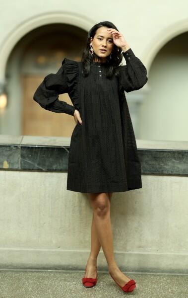 Bilde av Part Two - Lilja Dress - Black Seersucker