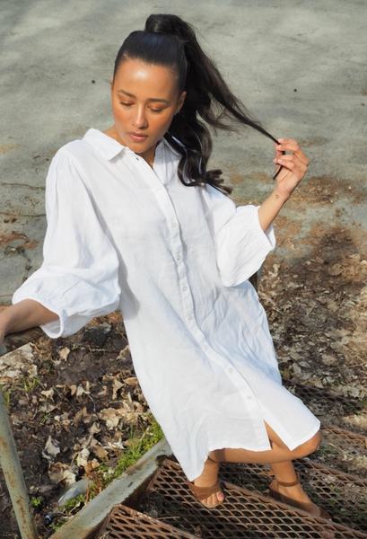 Bilde av Part Two - Eleina Linen Dress - Bright White