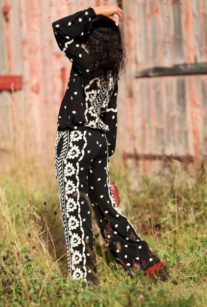 Bilde av Hale Bob - Pants w/Embroidery - Black
