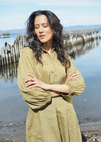 Bilde av Part Two - Eleina Linen Dress - Olive Drab