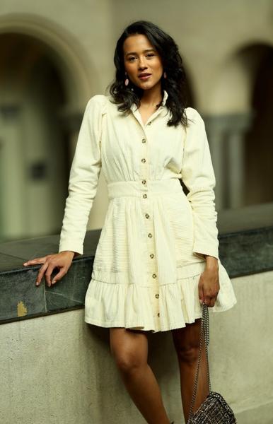 Bilde av By TiMo - Corduroy Mini Dress - Off-White