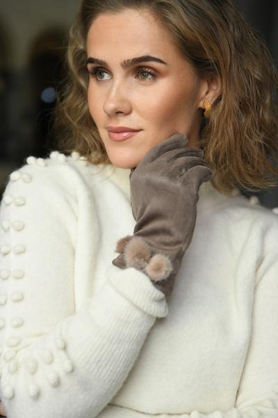 Bilde av Nectar - Pompom Gloves - Beige
