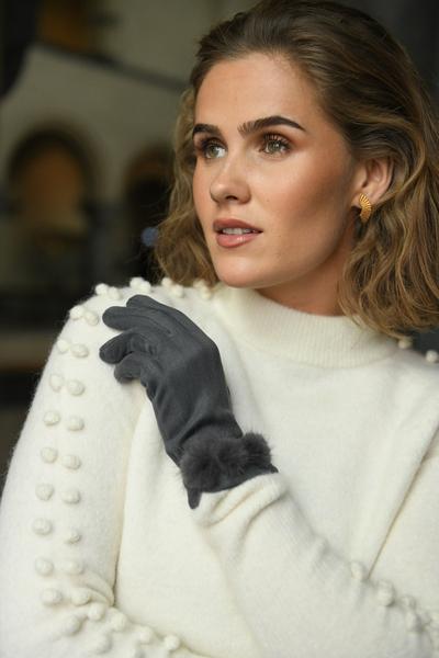 Bilde av Nectar - Pompom Gloves - Grey