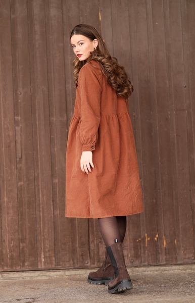 Bilde av Nectar Clothing - Maja Babycord Dress - Caramel