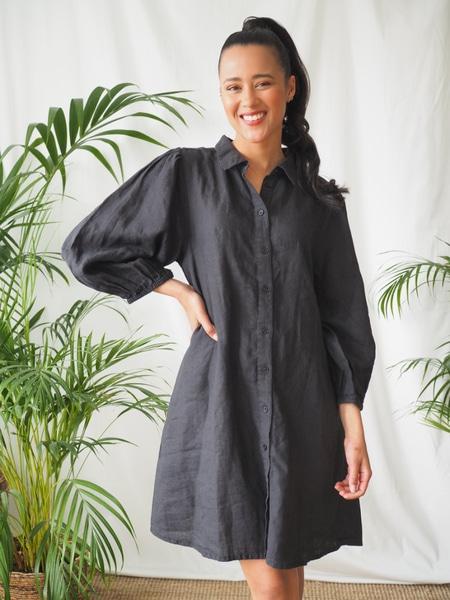 Bilde av Part Two - Eleina Linen Dress - Black