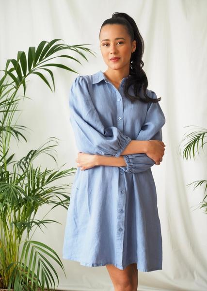Bilde av Part Two - Eleina Linen Dress - Colony Blue