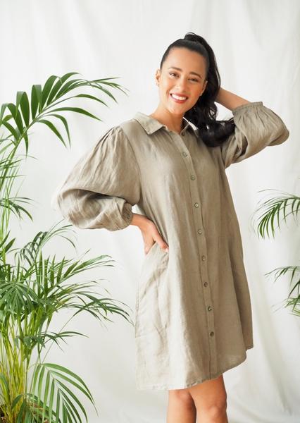 Bilde av Part Two - Eleina Linen Dress - Vetiver