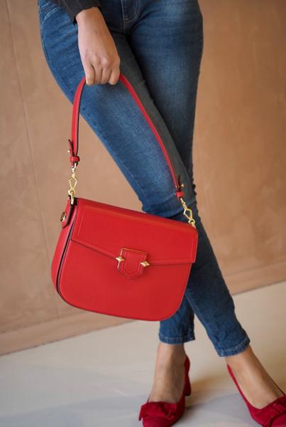 Bilde av Pourchet - Crossbody Large leather bag - Rouge
