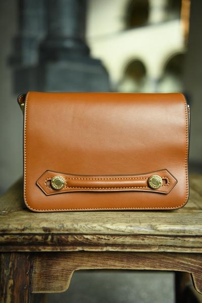 Bilde av Pourchet - Cowhide Shoulder Bag - Cognac