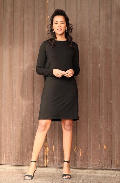 Bilde av Basic Apparel - Jolanda Longsleeve Dress - Black