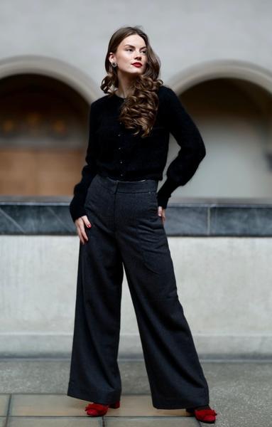 Bilde av Cathrine Hammel - Tweed Wide Leg Pants - Charcoal