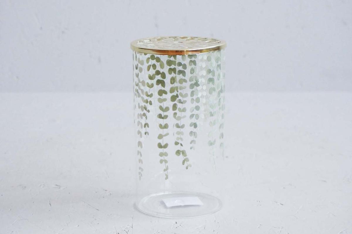 Vase klar eukalyptus m/gullokk 10x17cm