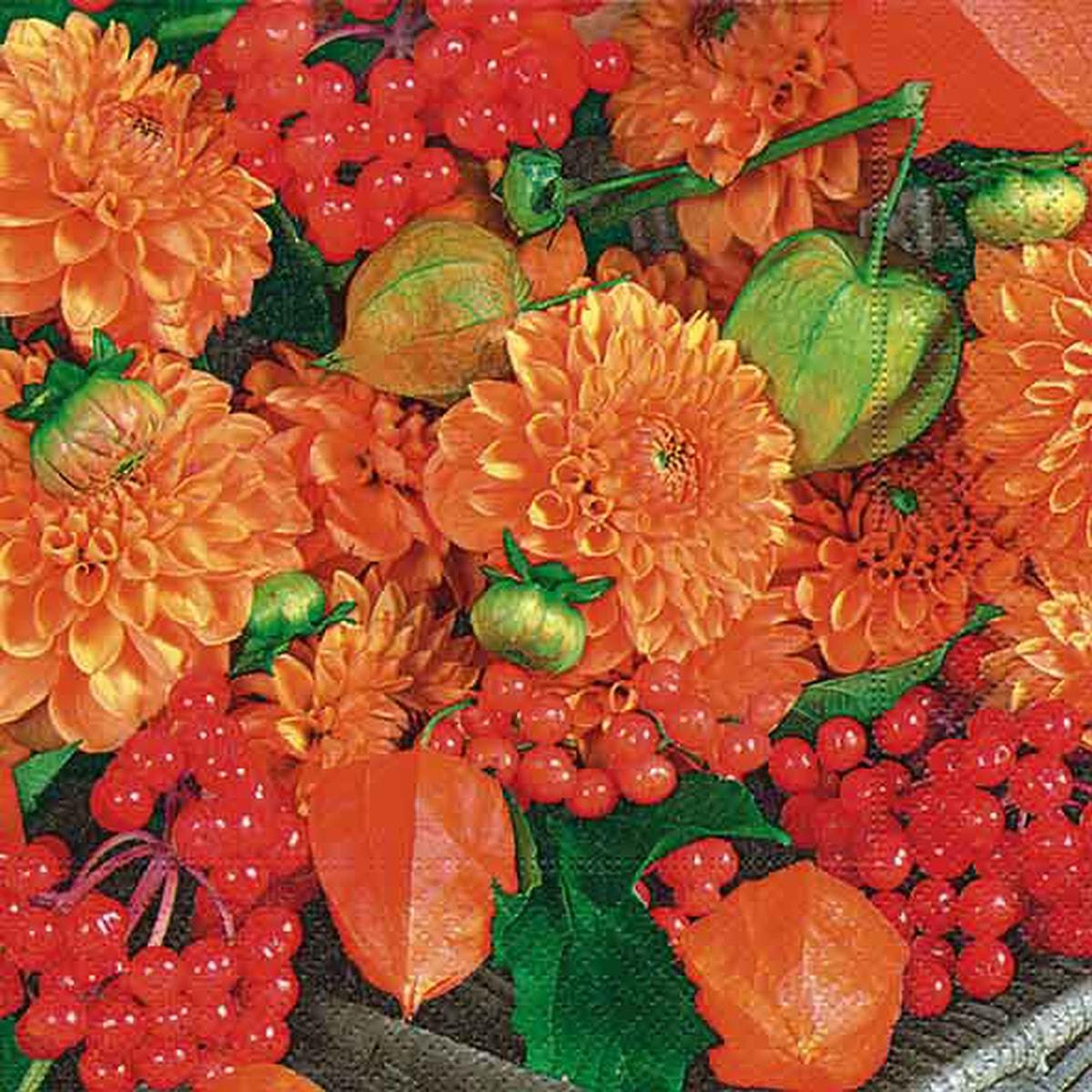 Servietter, Flowers & fruits, vanlig 33x33 cm
