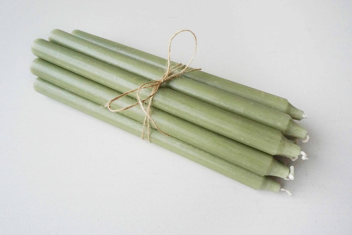 Rustikk stearinlys, 30 cm, Militærgrønn