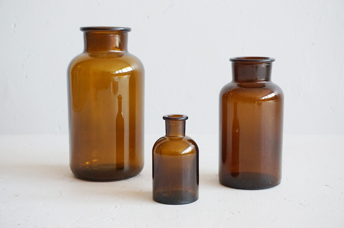 Glassvase, 16x8 cm, brun